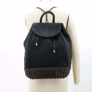 Vintage Woven Backpack Brown & Black Leather